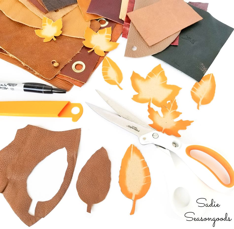 leather leaves from leather scraps