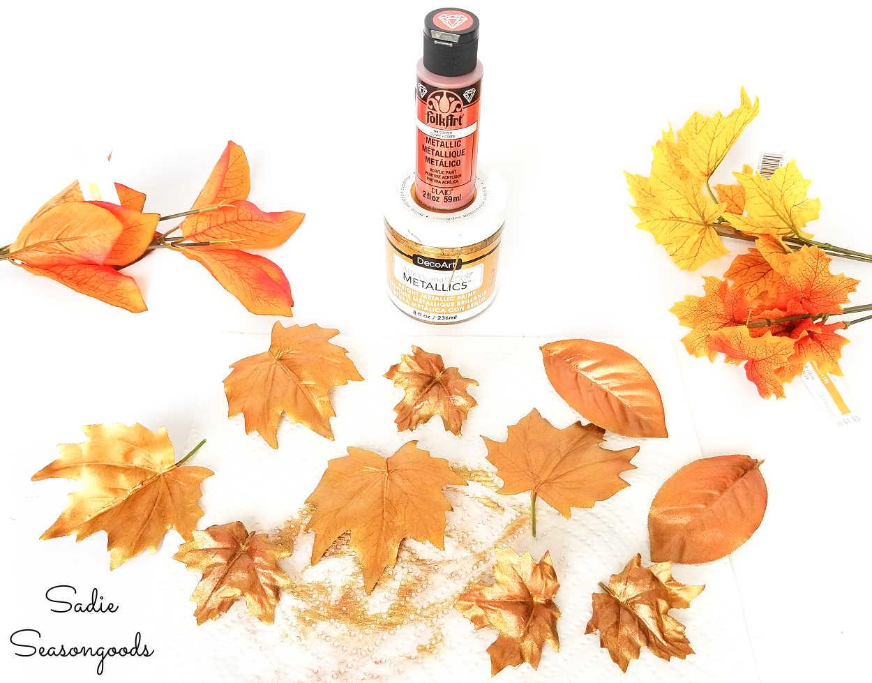 metallic fall leaves for metal pumpkins