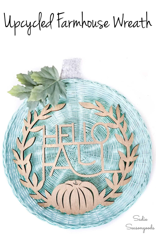 neutral wreath for farmhouse fall decor