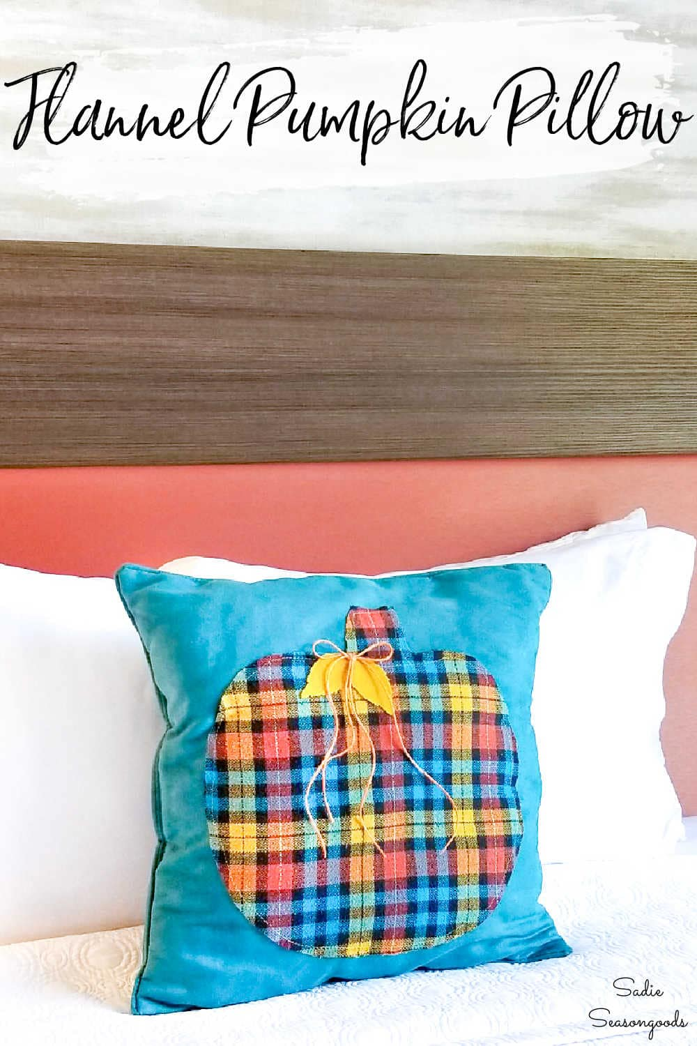 upcycled flannel shirt for a pumpkin pillow