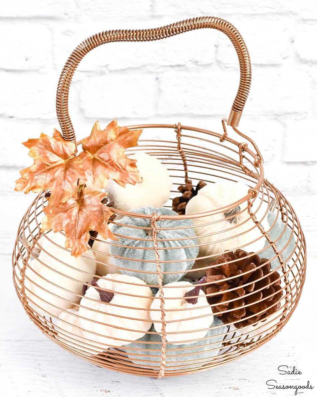 vintage egg basket as modern fall decor