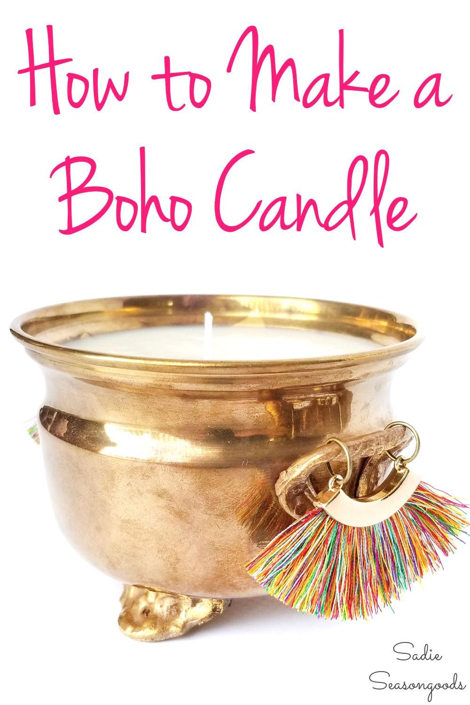 boho candle holder from vintage brass